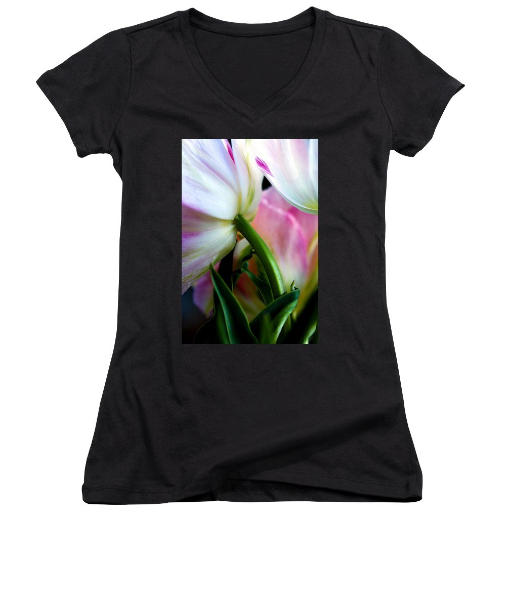 Flower Women's V-Neck (Athletic Fit) featuring the photograph Layers Of Tulips by Marilyn Hunt