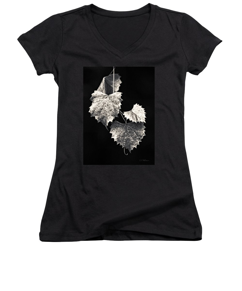 B&w Women's V-Neck T-Shirt featuring the photograph Leaves by Christopher Holmes