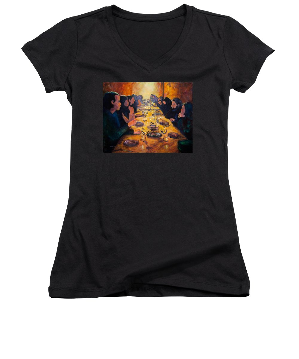 Food Women's V-Neck (Athletic Fit) featuring the painting Leftovers by Jason Reinhardt