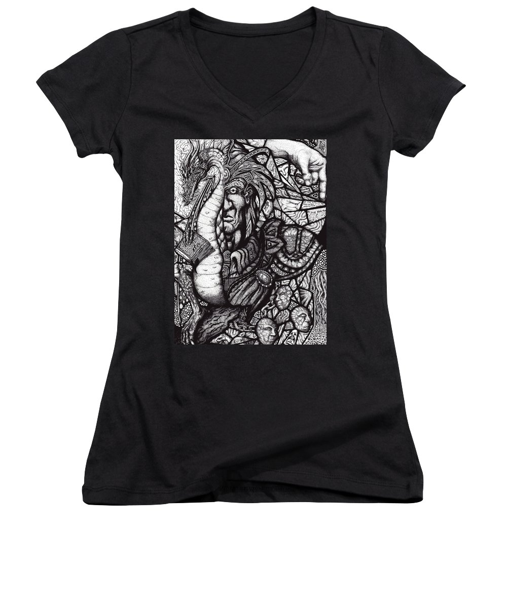 Pen And Ink Women's V-Neck T-Shirt featuring the drawing Legend by Tobey Anderson