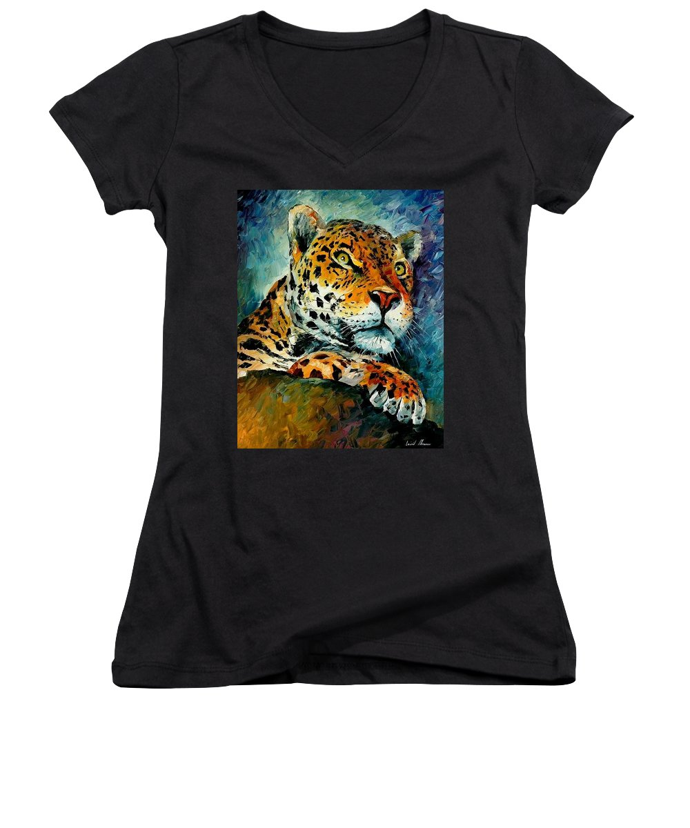 Animals Women's V-Neck (Athletic Fit) featuring the painting Leopard by Leonid Afremov