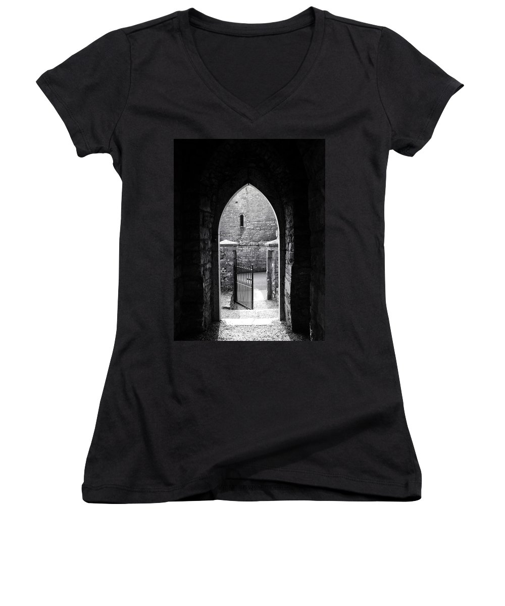 Irish Women's V-Neck T-Shirt featuring the photograph Let There Be Light Cong Church And Abbey Cong Ireland by Teresa Mucha