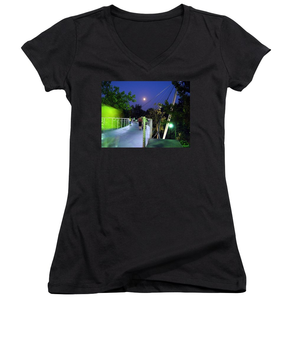 Liberty Bridge Women's V-Neck (Athletic Fit) featuring the photograph Liberty Bridge At Night Greenville South Carolina by Flavia Westerwelle