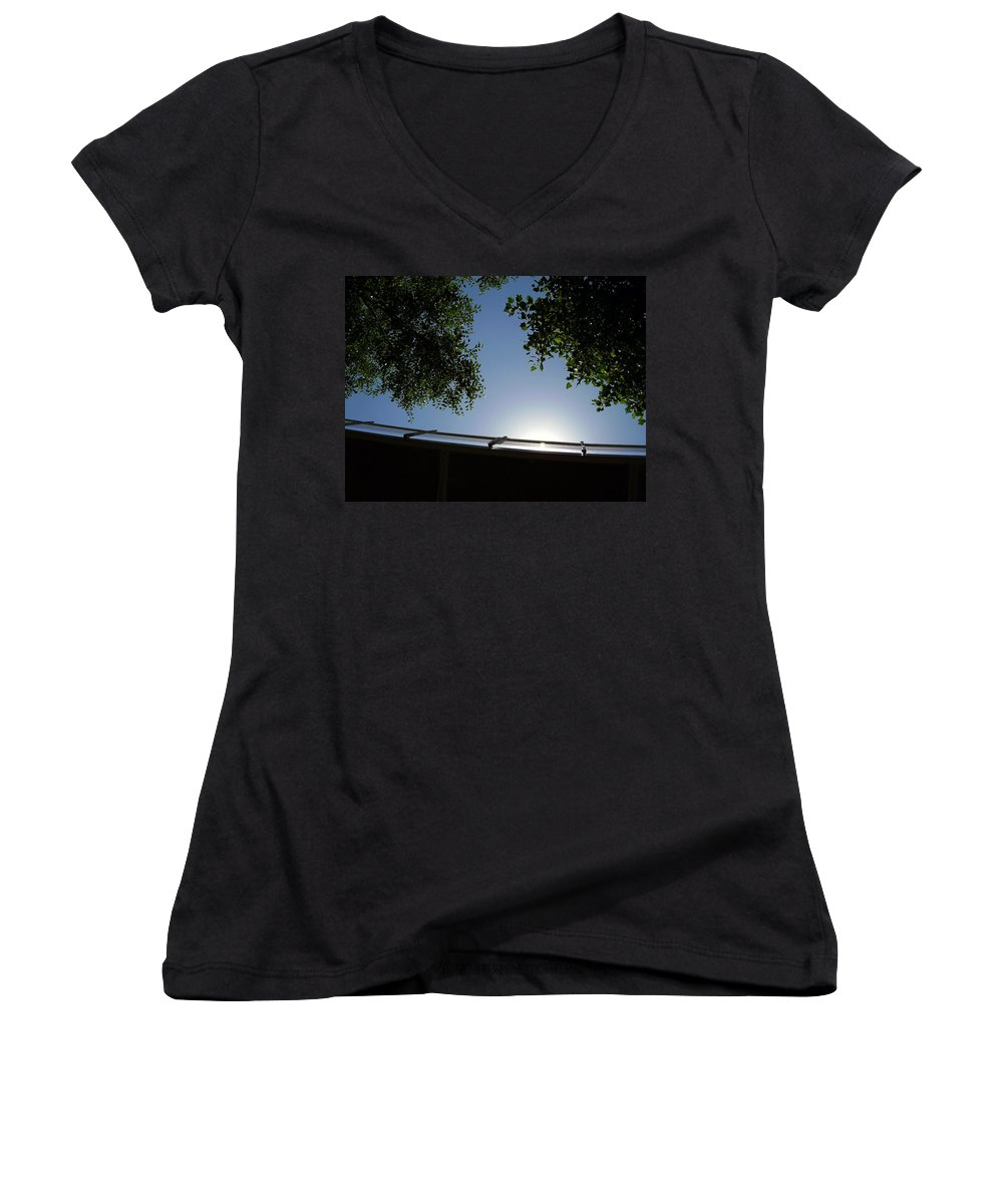 Liberty Bridge Women's V-Neck T-Shirt featuring the photograph Liberty Bridge by Flavia Westerwelle