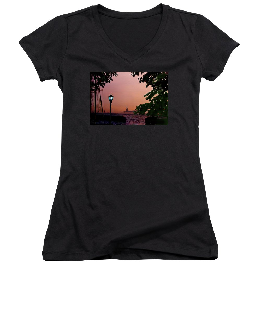 Seascape Women's V-Neck (Athletic Fit) featuring the digital art Liberty Fading Seascape by Steve Karol