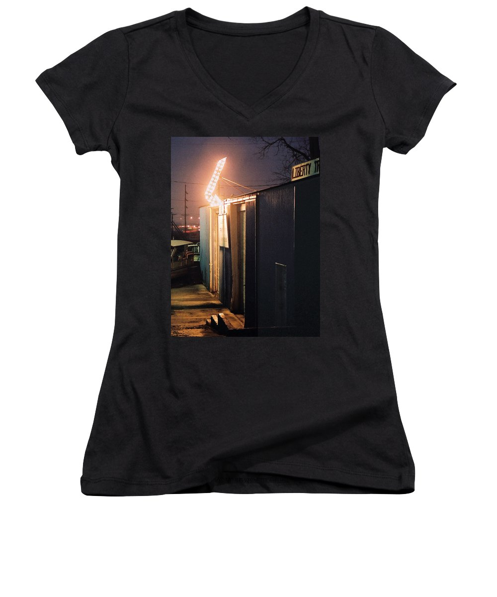 Night Scene Women's V-Neck T-Shirt featuring the photograph Liberty by Steve Karol