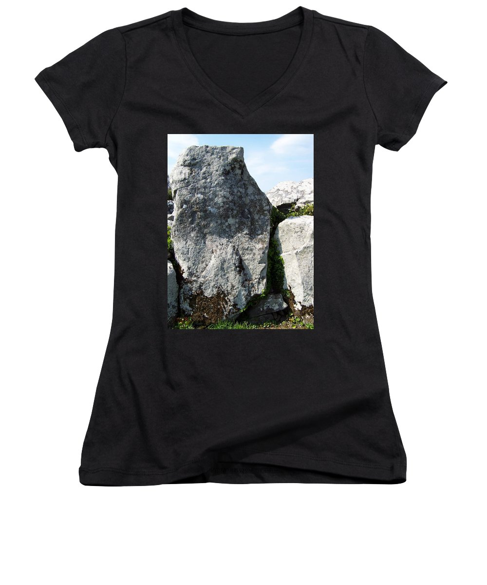 Irish Women's V-Neck (Athletic Fit) featuring the photograph Life At Creevykeel Court Cairn Sligo Ireland by Teresa Mucha