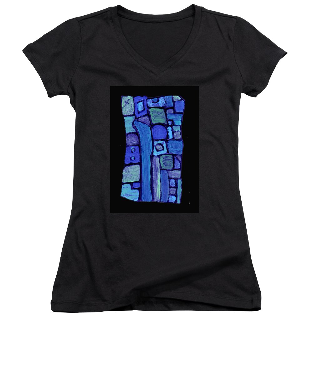 Abstract Women's V-Neck T-Shirt featuring the painting Life In The Pond by Wayne Potrafka