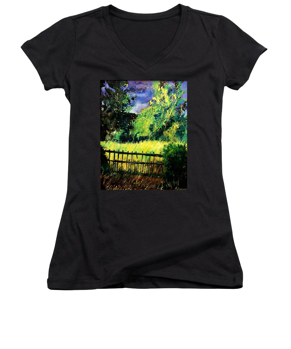 Spring Women's V-Neck T-Shirt featuring the painting Light Before The Storm by Pol Ledent