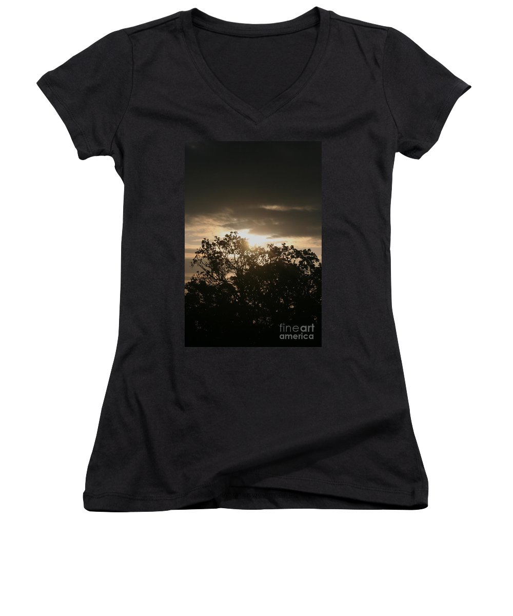 Light Women's V-Neck T-Shirt featuring the photograph Light Chasing Away The Darkness by Nadine Rippelmeyer