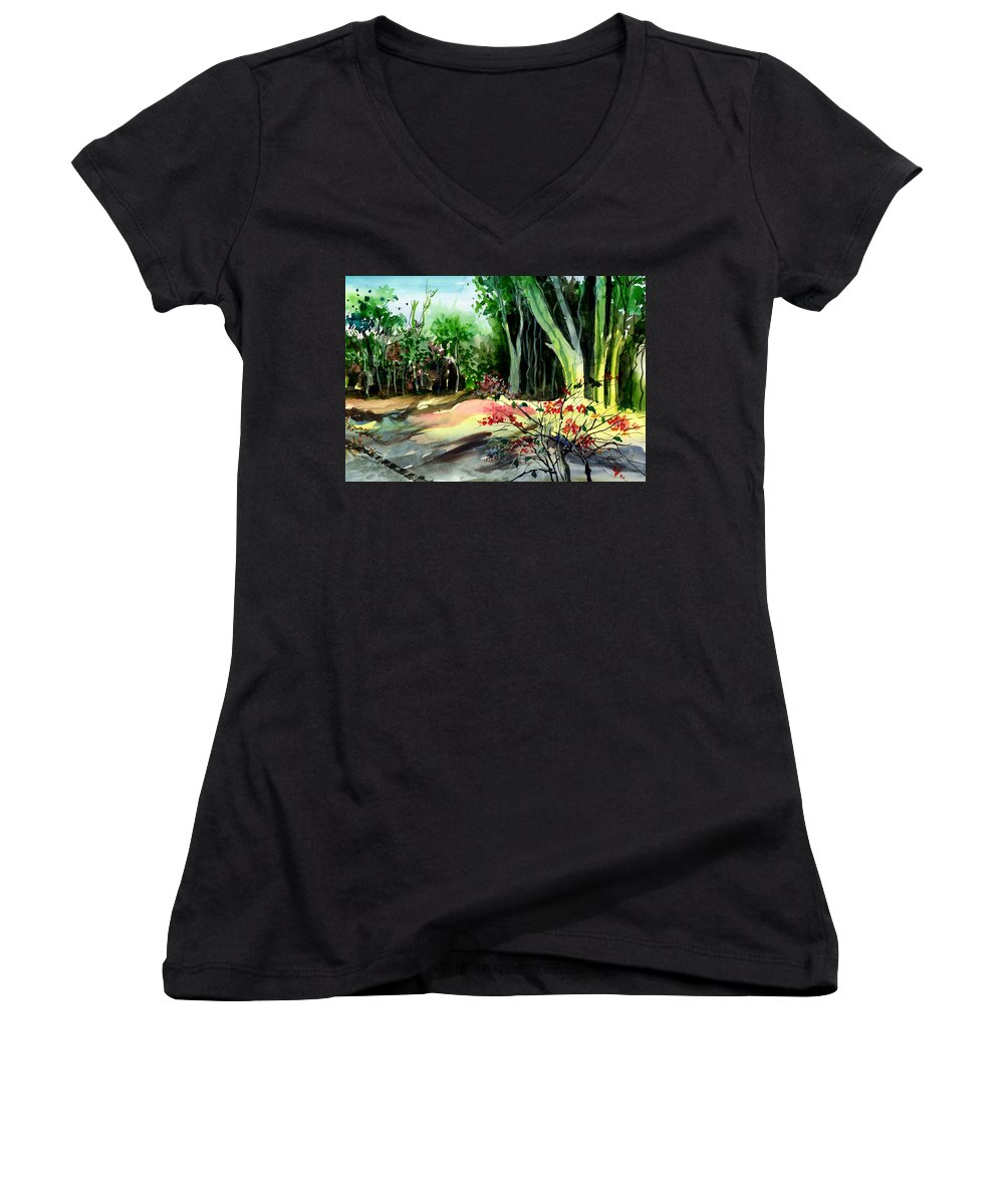 Watercolor Women's V-Neck T-Shirt featuring the painting Light In The Woods by Anil Nene