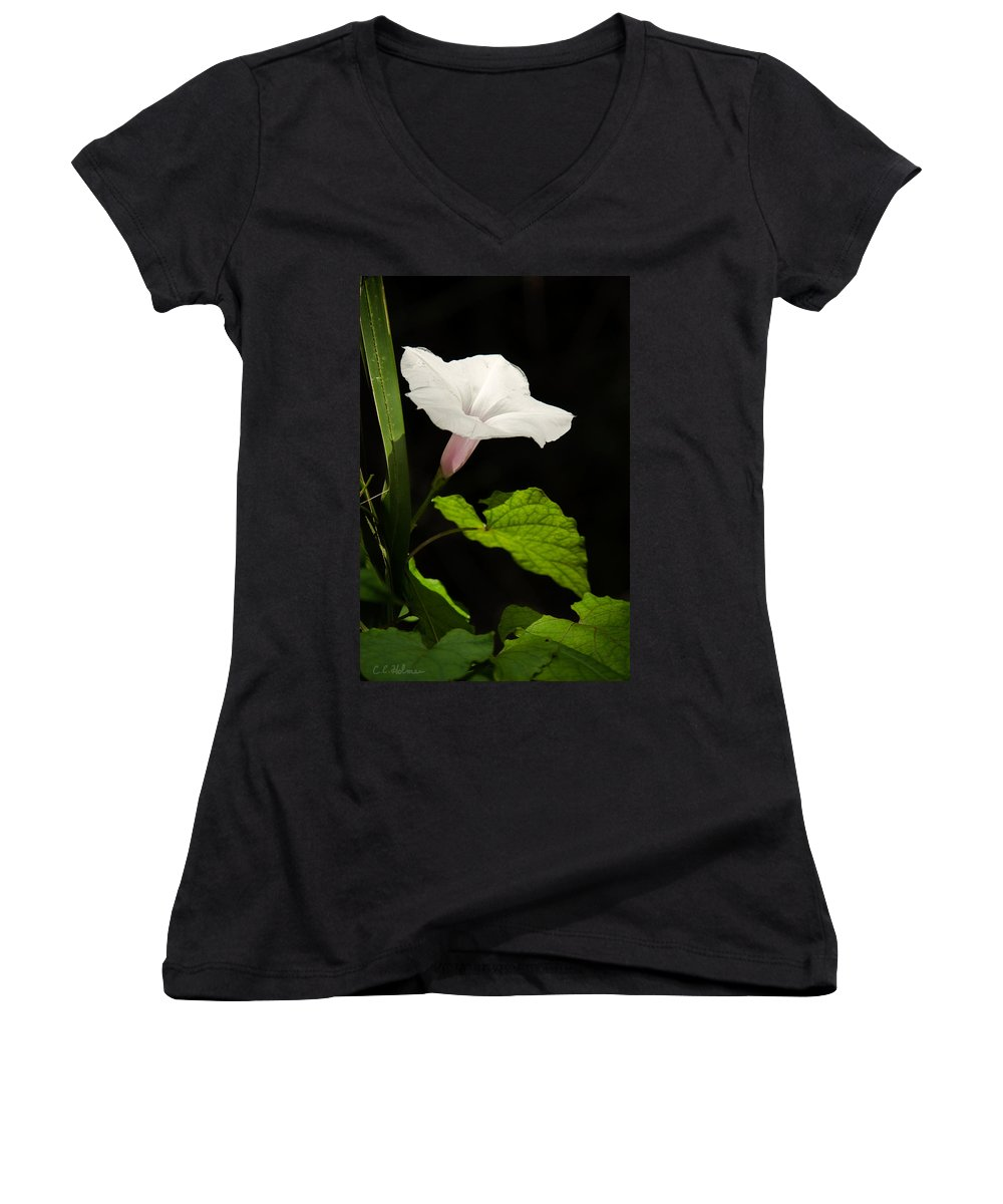 Flower Women's V-Neck (Athletic Fit) featuring the photograph Light Out Of The Dark by Christopher Holmes