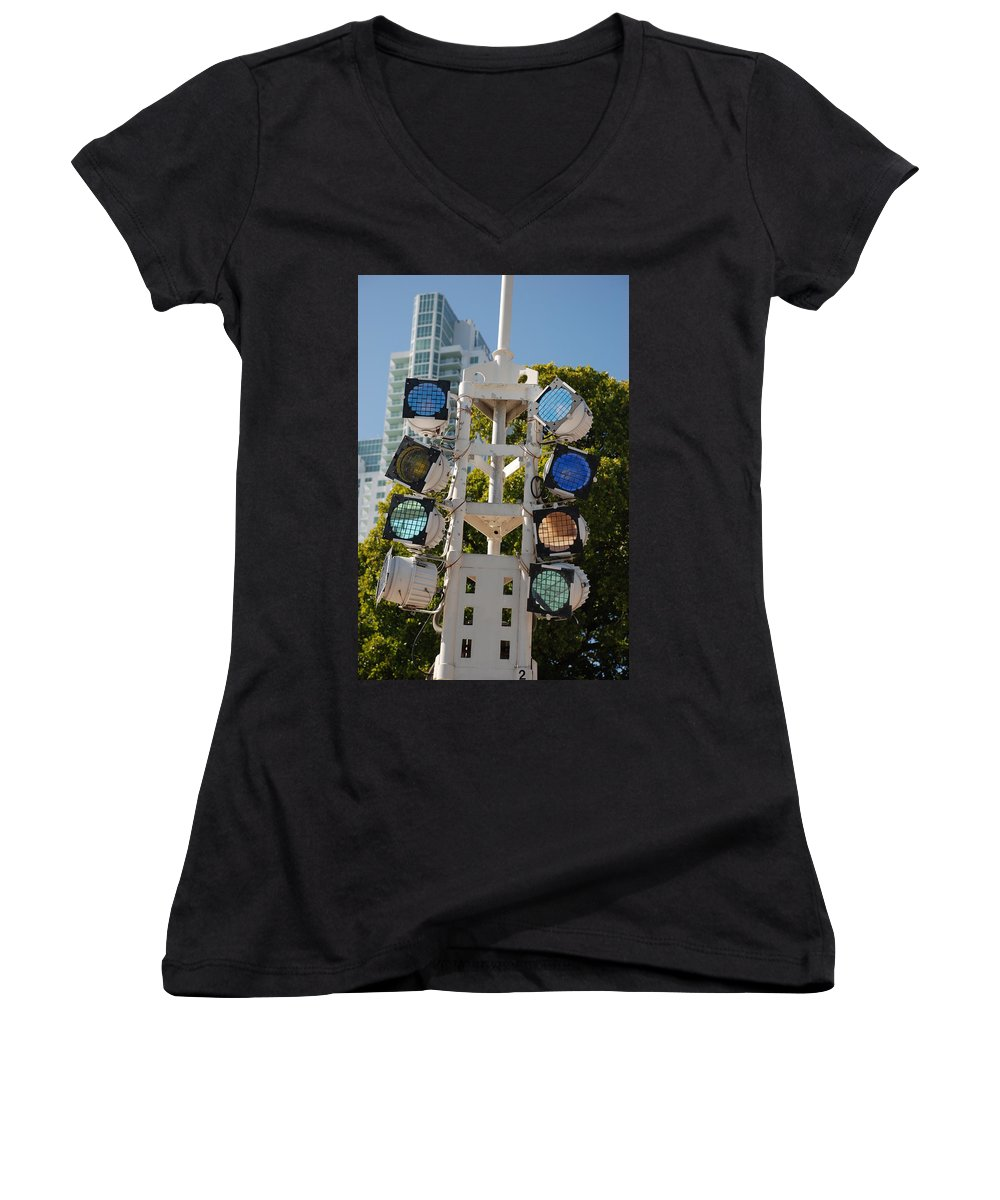 Lights Women's V-Neck (Athletic Fit) featuring the photograph Lights by Rob Hans
