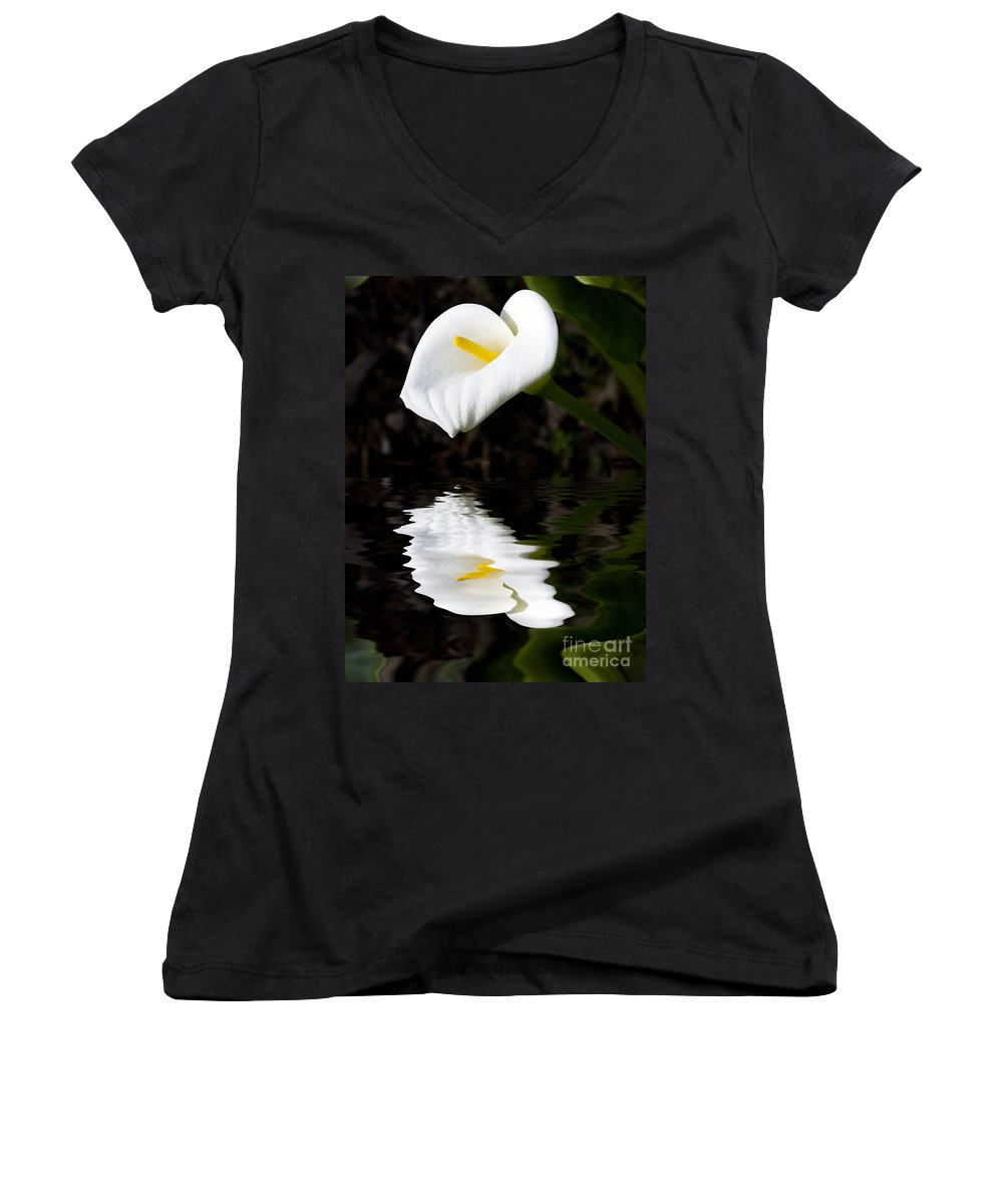 Lily Reflection Flora Flower Women's V-Neck (Athletic Fit) featuring the photograph Lily Reflection by Sheila Smart Fine Art Photography