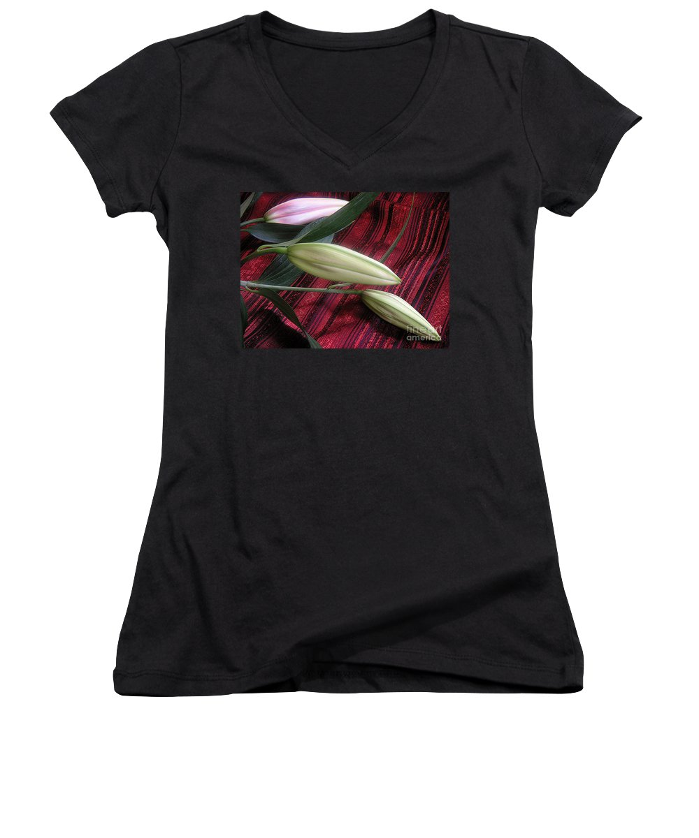 Nature Women's V-Neck T-Shirt featuring the photograph Lily Stem On Red Brocade by Lucyna A M Green