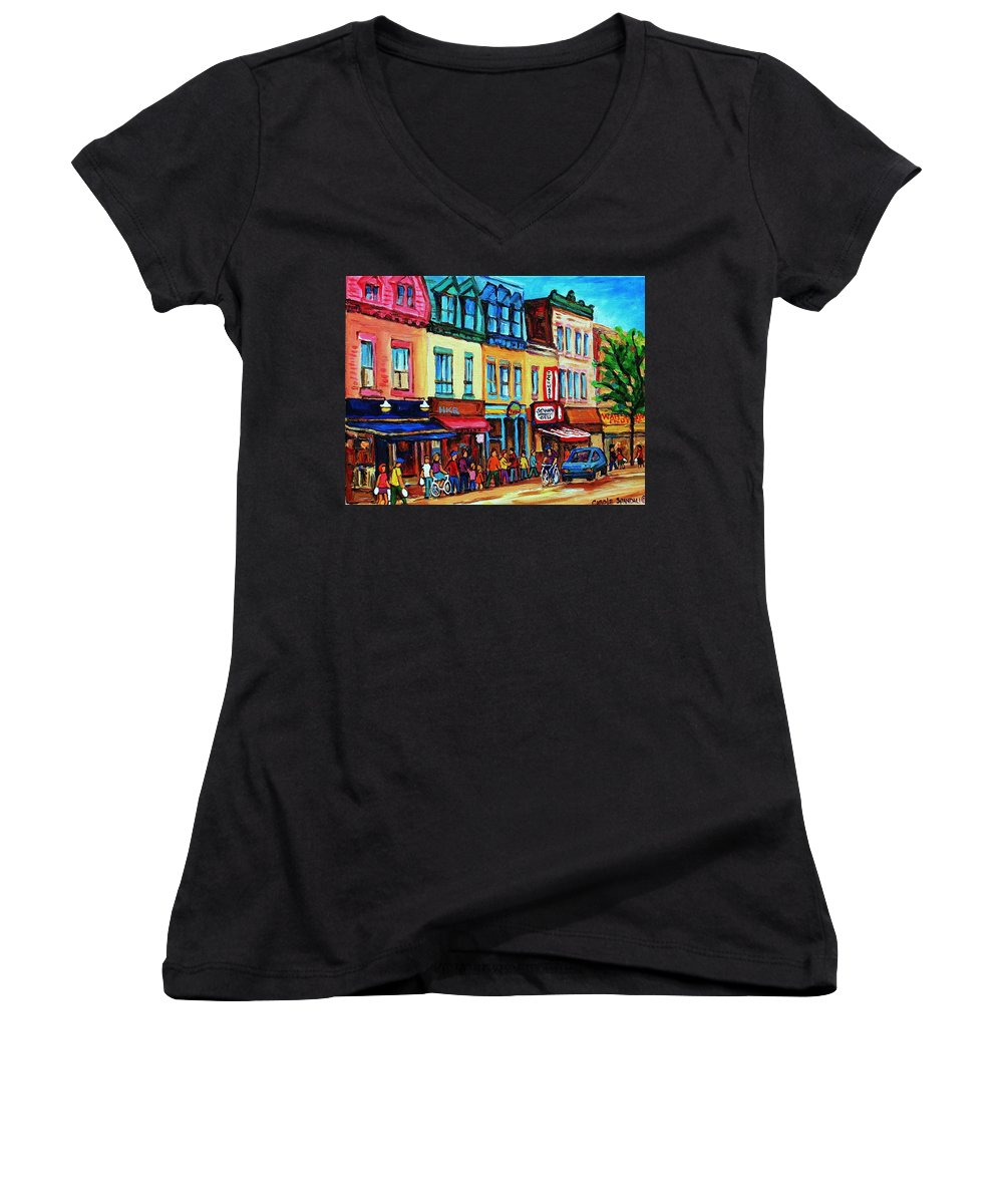 Cityscape Women's V-Neck T-Shirt featuring the painting Lineup For Smoked Meat Sandwiches by Carole Spandau