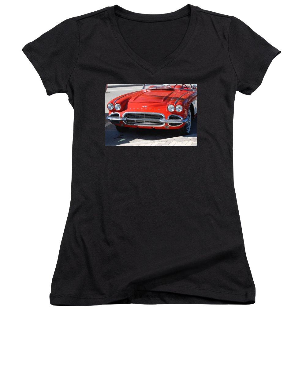 Corvette Women's V-Neck T-Shirt featuring the photograph Little Red Corvette by Rob Hans