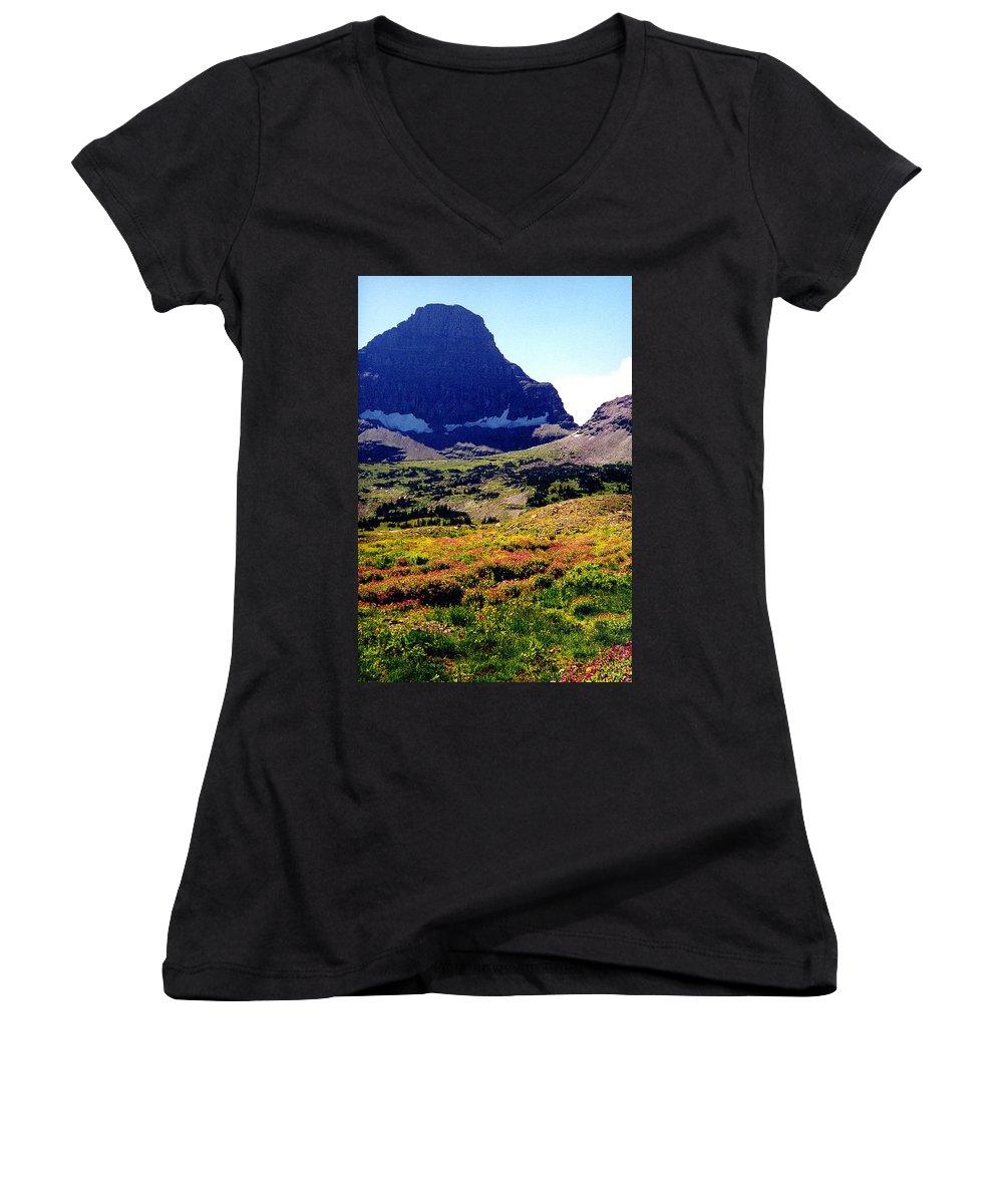 Glacier National Park Women's V-Neck T-Shirt featuring the photograph Logans Pass In Glacier National Park by Nancy Mueller