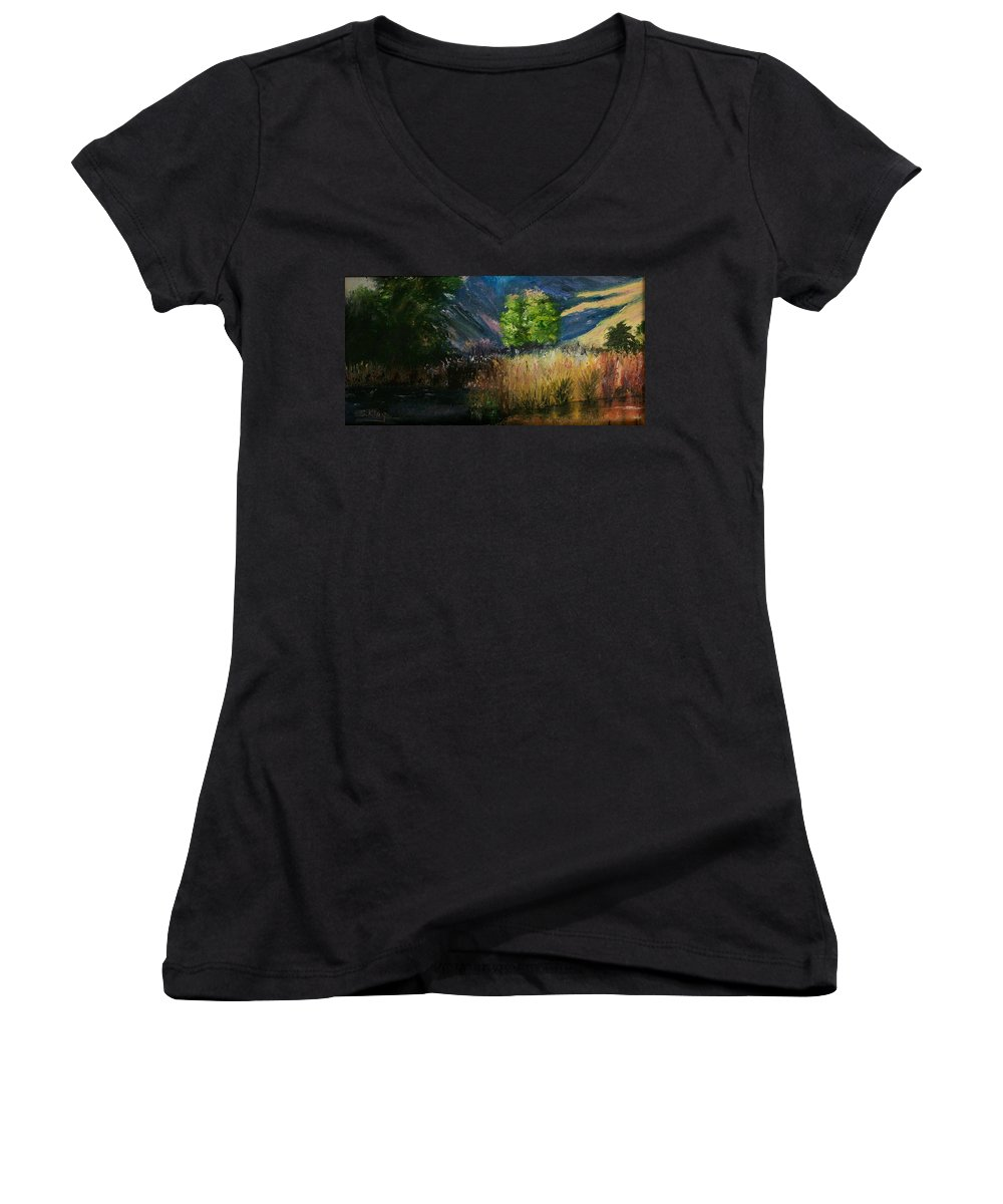 Landscape Women's V-Neck T-Shirt featuring the painting Long Shadows by Stephen King