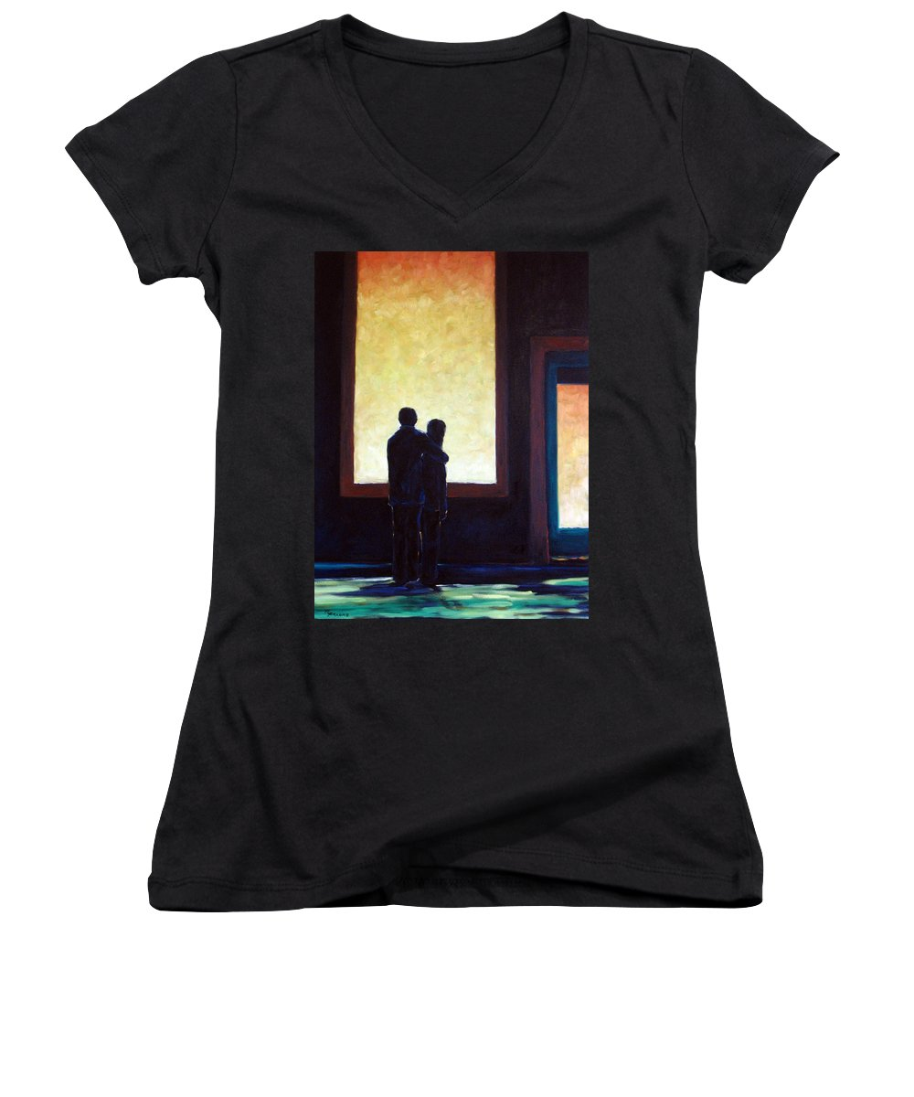 Pranke Women's V-Neck (Athletic Fit) featuring the painting Looking In Looking Out by Richard T Pranke