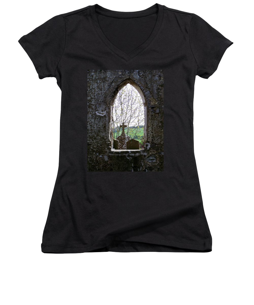 Ireland Women's V-Neck T-Shirt featuring the photograph Looking Out Fuerty Church Roscommon Ireland by Teresa Mucha