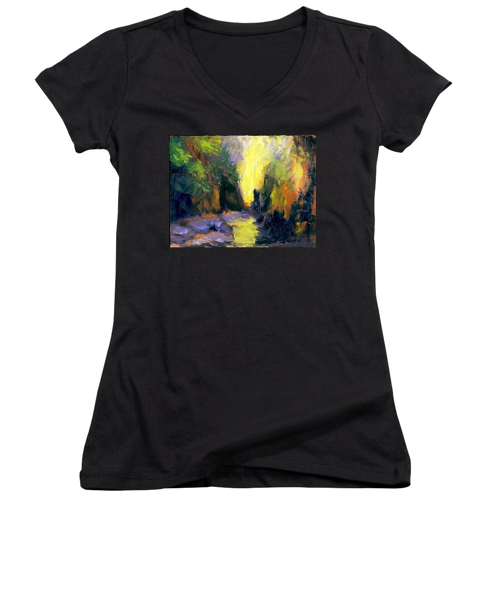 Landscape Women's V-Neck T-Shirt featuring the painting Lost Creek by Gail Kirtz