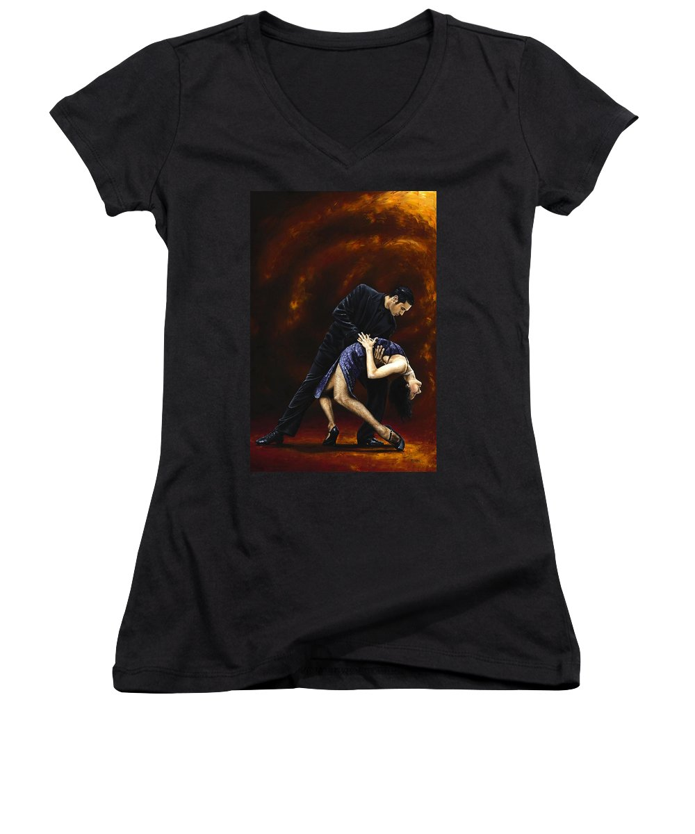Tango Women's V-Neck (Athletic Fit) featuring the painting Lost In Tango by Richard Young