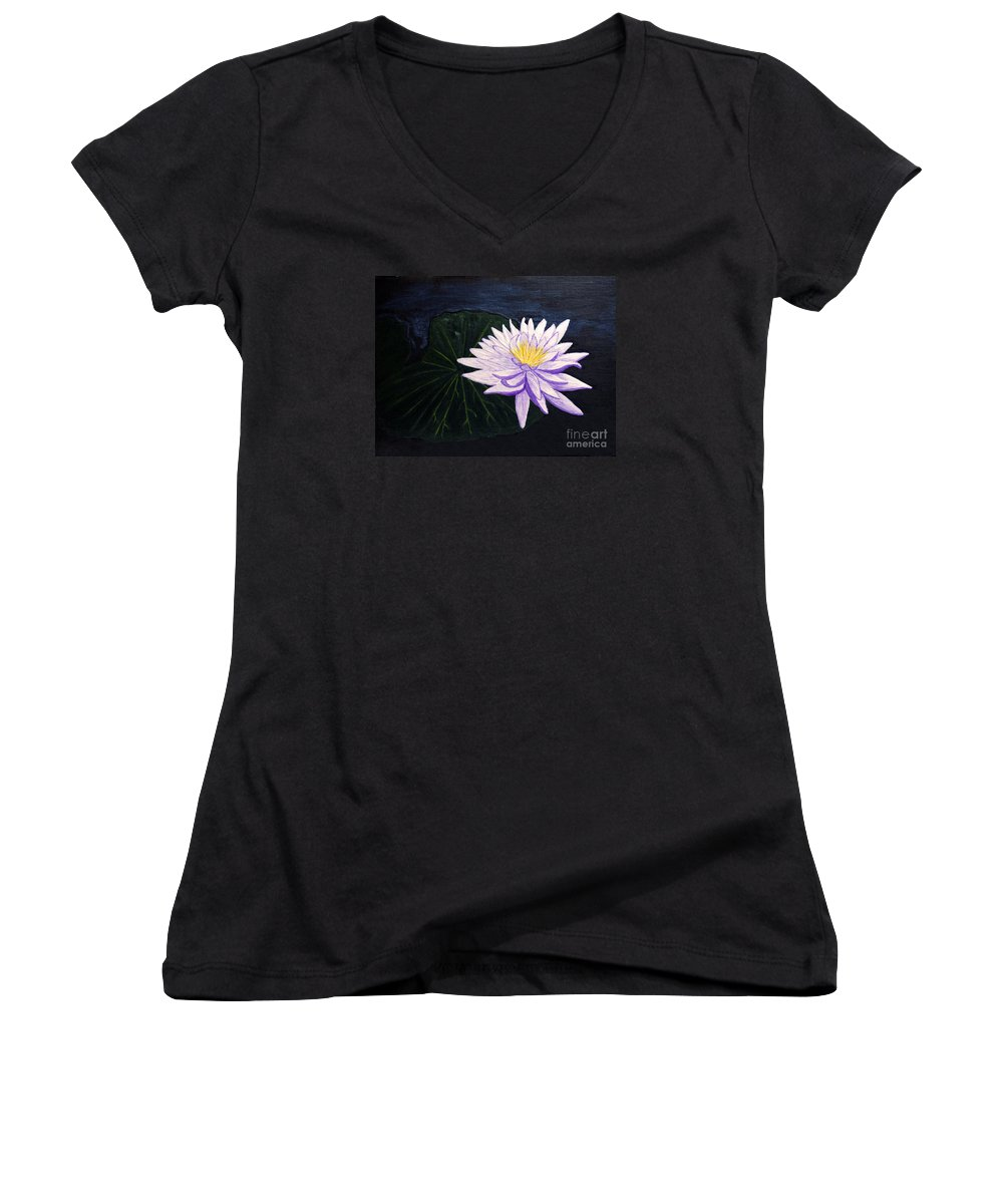 Original Painting Women's V-Neck (Athletic Fit) featuring the painting Lotus Blossom At Night by Patricia Griffin Brett
