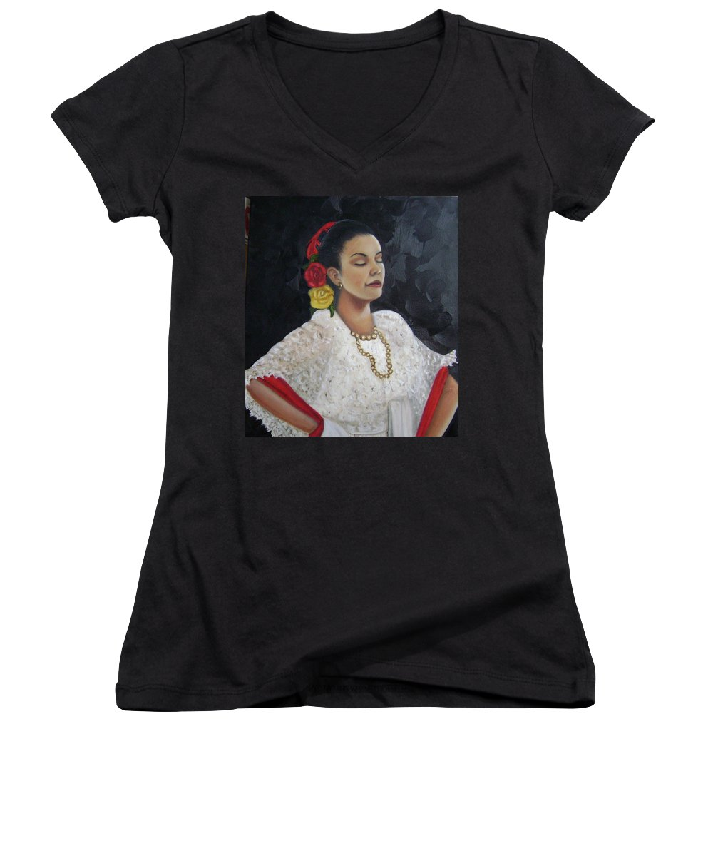 Women's V-Neck (Athletic Fit) featuring the painting Lucinda by Toni Berry