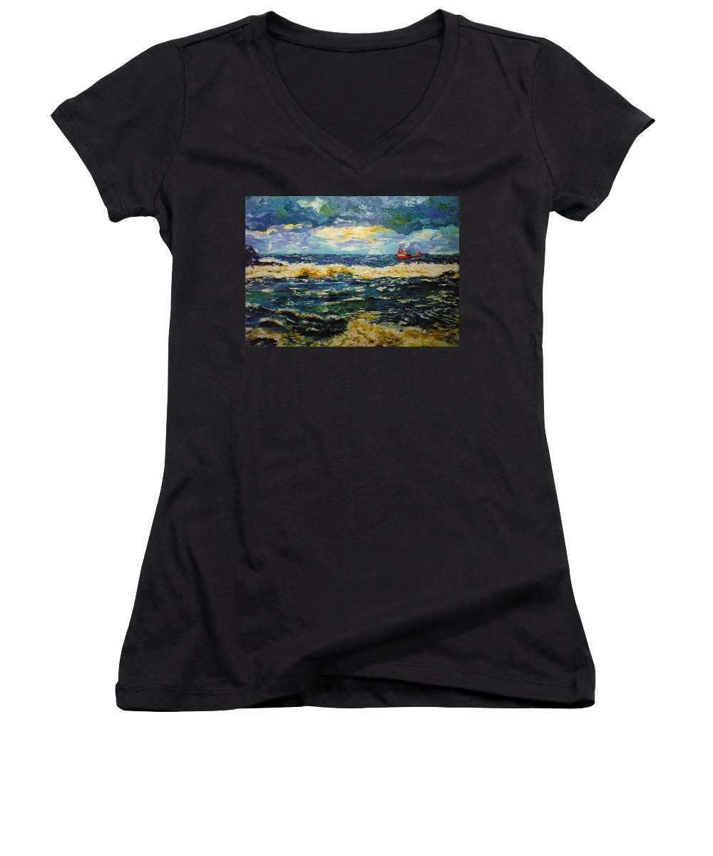 Sea Women's V-Neck (Athletic Fit) featuring the painting Mad Sea by Ericka Herazo