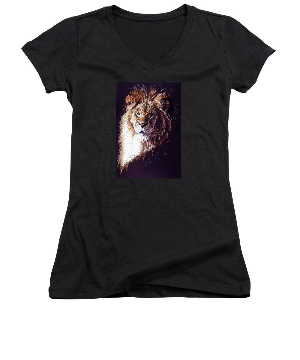 Lion Women's V-Neck T-Shirt featuring the drawing Maestro by Barbara Keith