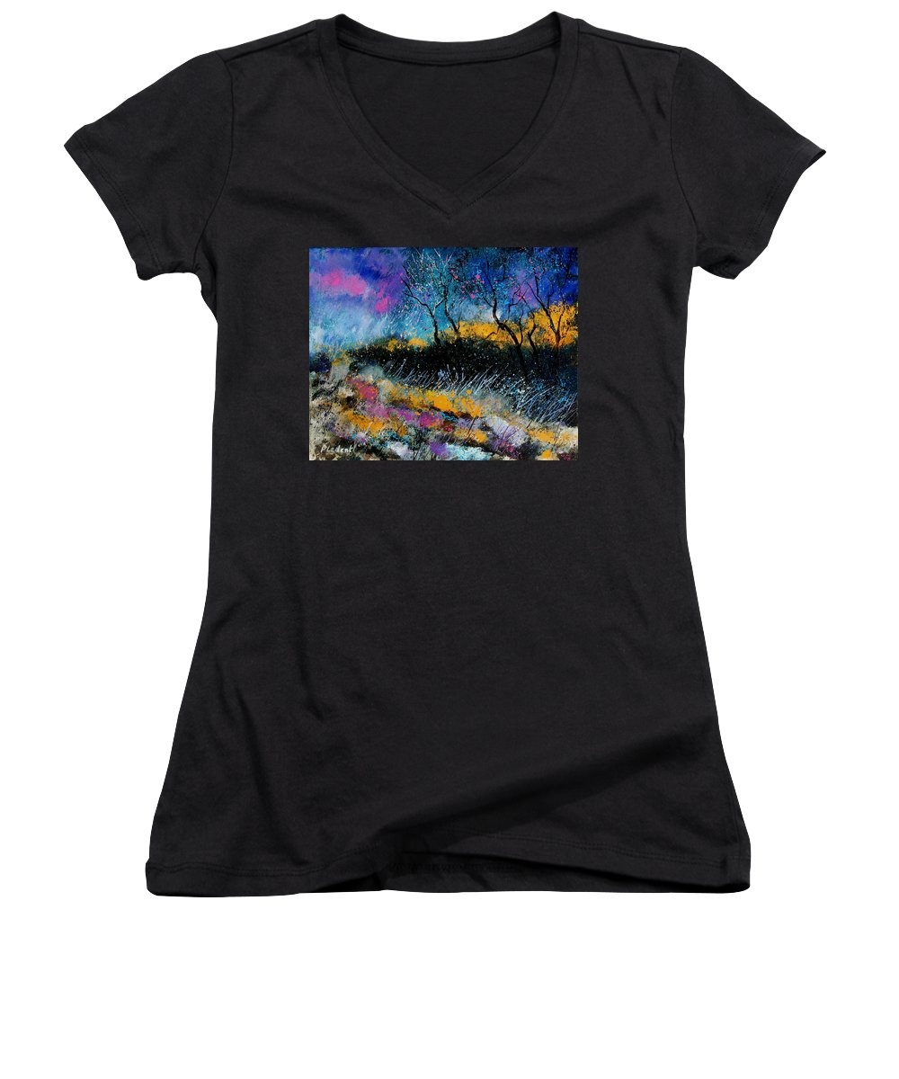 Landscape Women's V-Neck T-Shirt featuring the painting Magic Morning Light by Pol Ledent