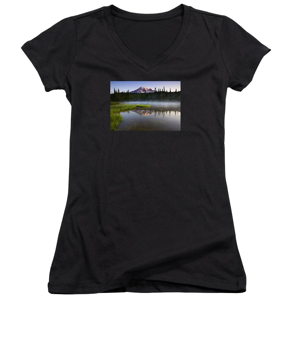 Lake Women's V-Neck T-Shirt featuring the photograph Majestic Dawn by Mike Dawson