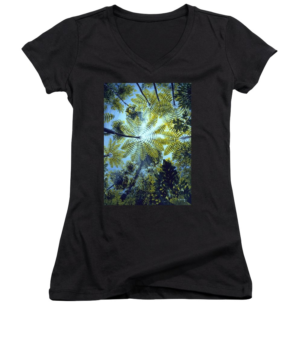 Chris Cox Women's V-Neck (Athletic Fit) featuring the painting Majestic Treeferns by Christopher Cox