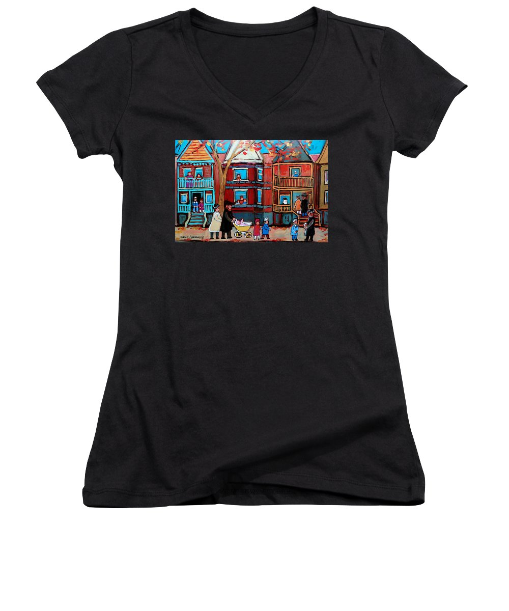 Hassidic Community Women's V-Neck (Athletic Fit) featuring the painting Mama Papa And New Baby by Carole Spandau