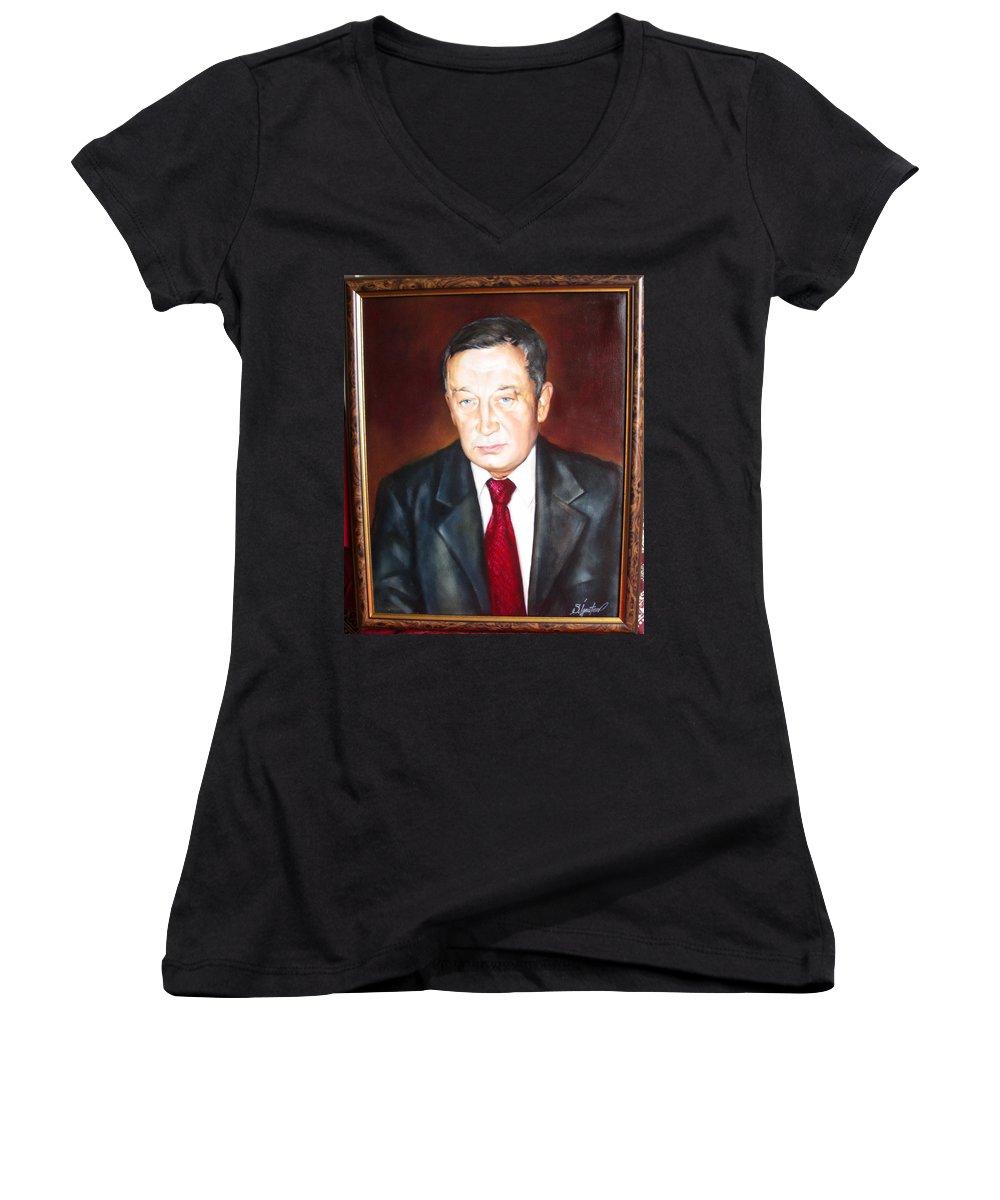 Art Women's V-Neck T-Shirt featuring the painting Man 1 by Sergey Ignatenko