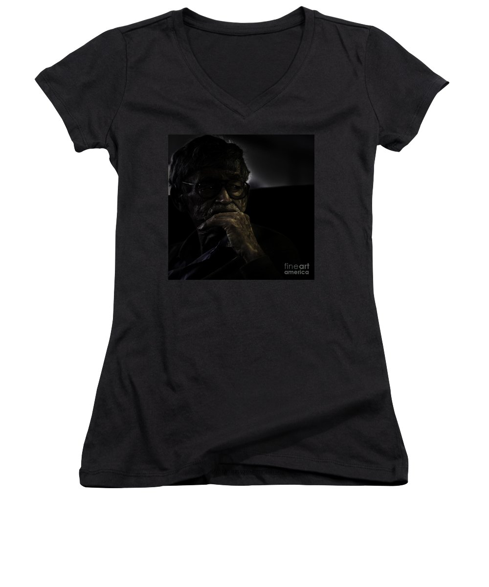 Portrait Women's V-Neck (Athletic Fit) featuring the photograph Man On Ferry by Sheila Smart Fine Art Photography