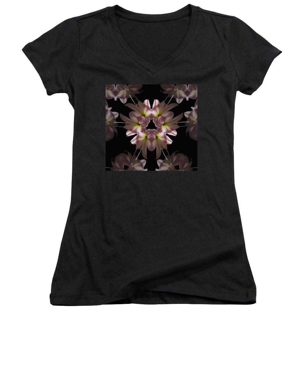 Mandala Women's V-Neck T-Shirt featuring the digital art Mandala Amarylis by Nancy Griswold