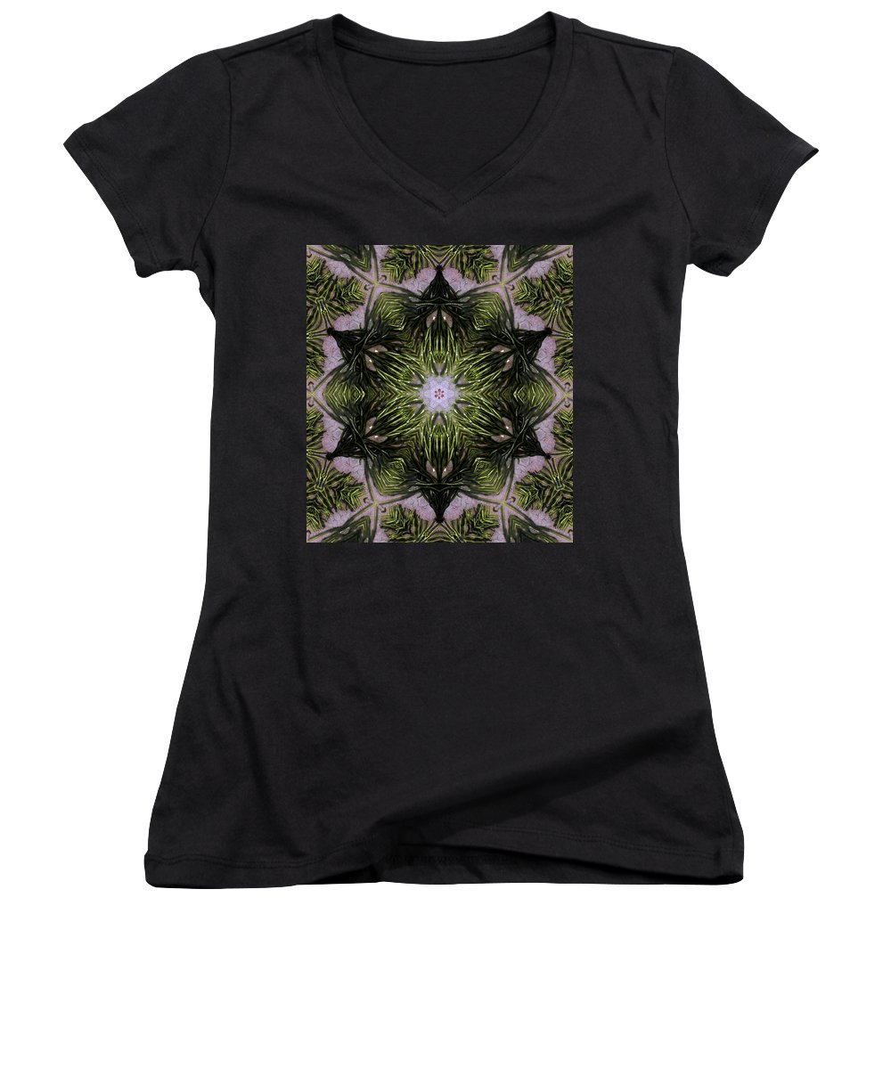 Mandala Women's V-Neck T-Shirt featuring the digital art Mandala Sea Sponge by Nancy Griswold