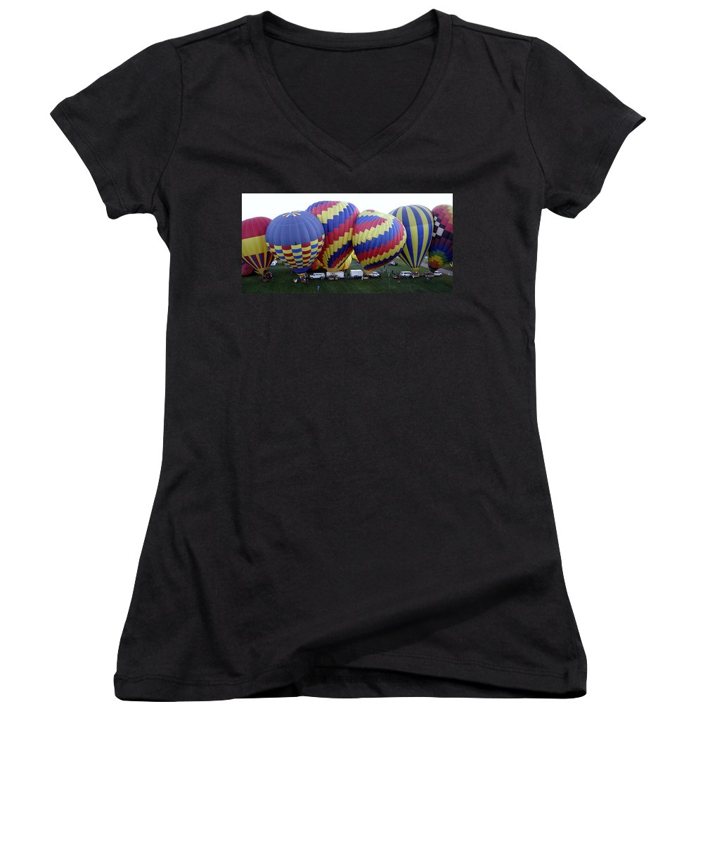 Hot Air Balloons Women's V-Neck T-Shirt featuring the photograph Many Balloons by Mary Rogers