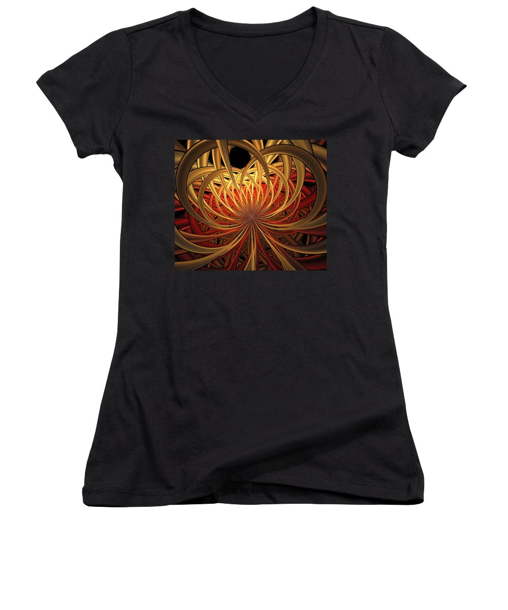 Digital Art Women's V-Neck (Athletic Fit) featuring the digital art Marigold by Amanda Moore