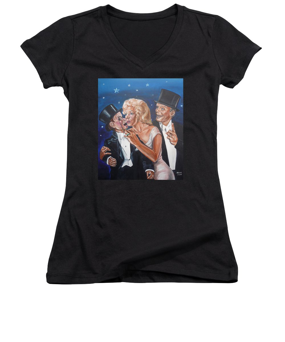 Old Time Radio Women's V-Neck (Athletic Fit) featuring the painting Marilyn Monroe Marries Charlie Mccarthy by Bryan Bustard