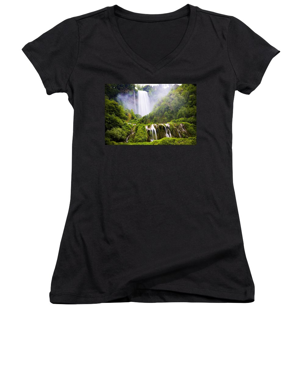 Italy Women's V-Neck (Athletic Fit) featuring the photograph Marmore Waterfalls Italy by Marilyn Hunt