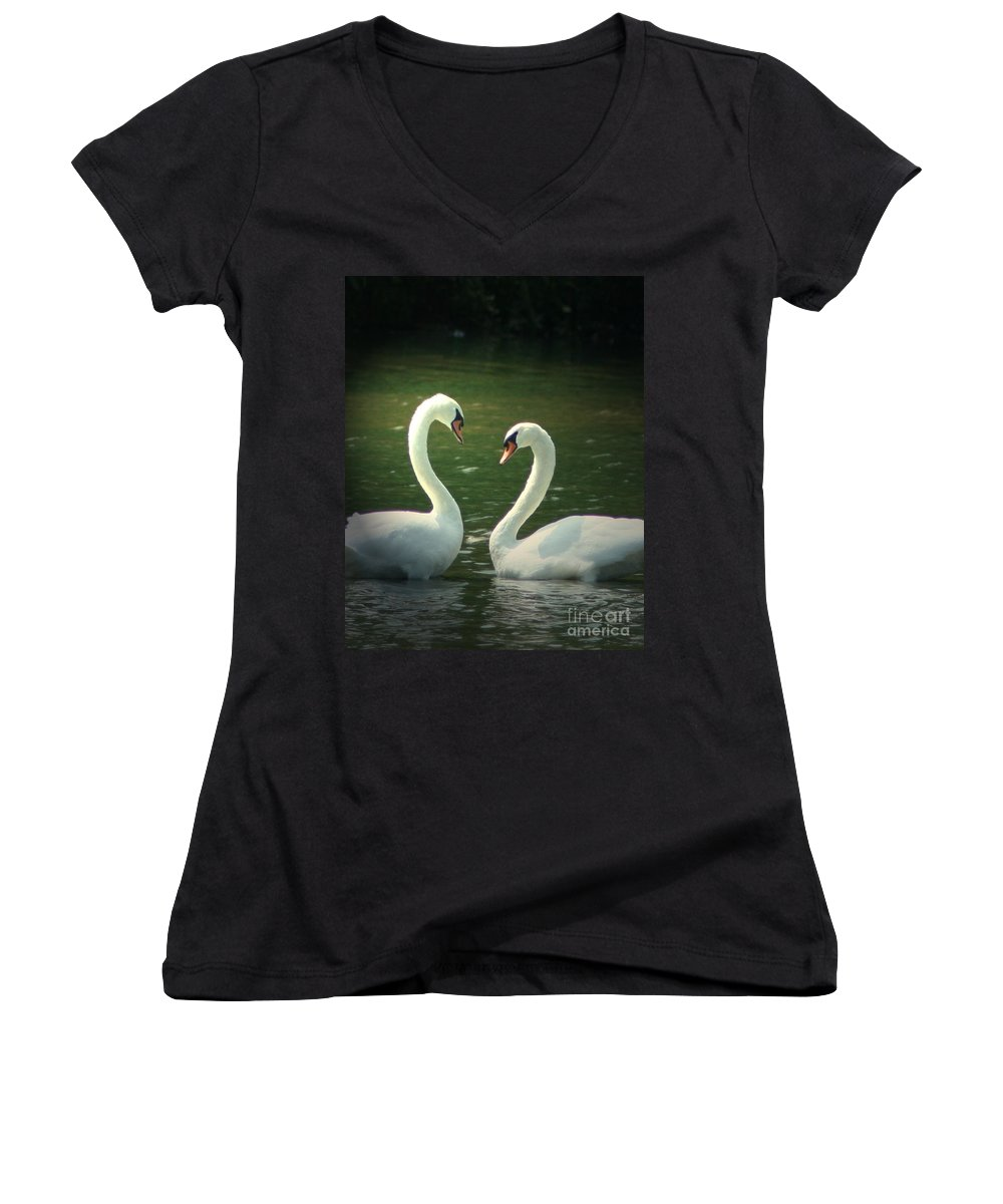 Nature Wildlife Ohio Waterscape Landscape Swans Lake Pond Women's V-Neck T-Shirt featuring the photograph Mates For Life by Dawn Downour