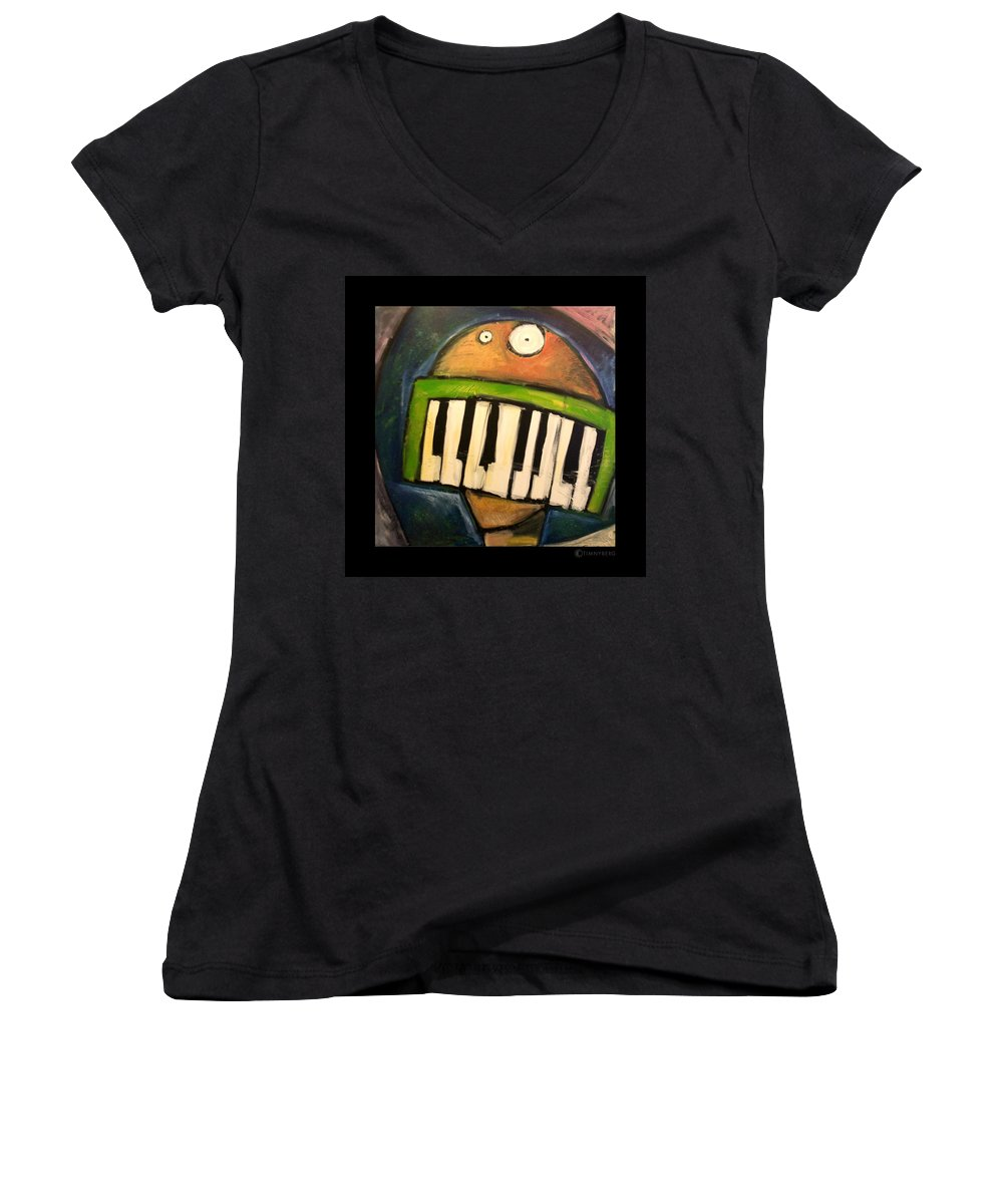 Funny Women's V-Neck (Athletic Fit) featuring the painting Melodica Mouth by Tim Nyberg