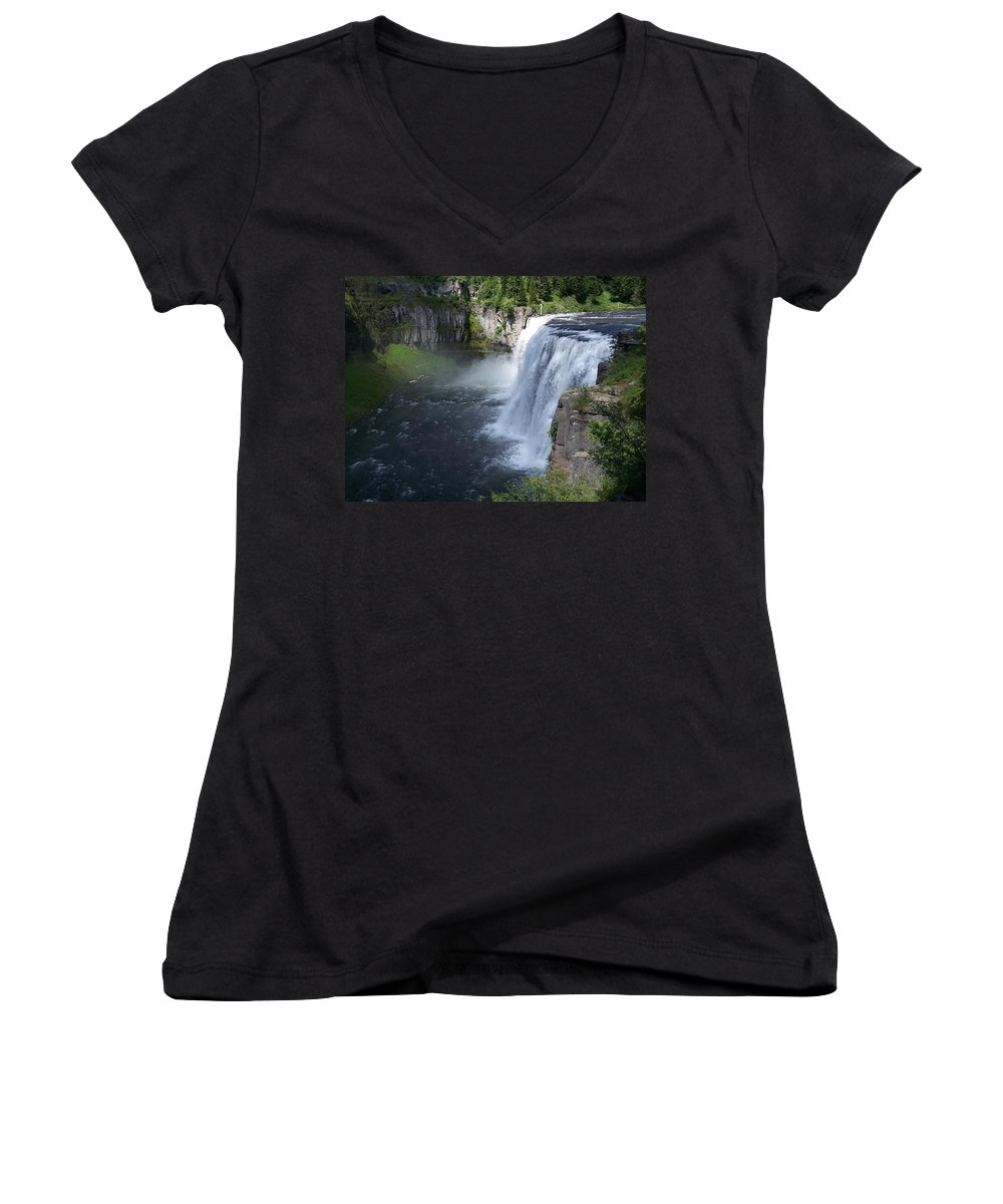 Landscape Women's V-Neck (Athletic Fit) featuring the photograph Mesa Falls by Gale Cochran-Smith