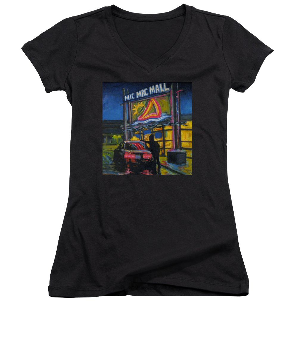 Retail Women's V-Neck T-Shirt featuring the painting Mic Mac Mall Spectre Of The Next Great Depression by John Malone