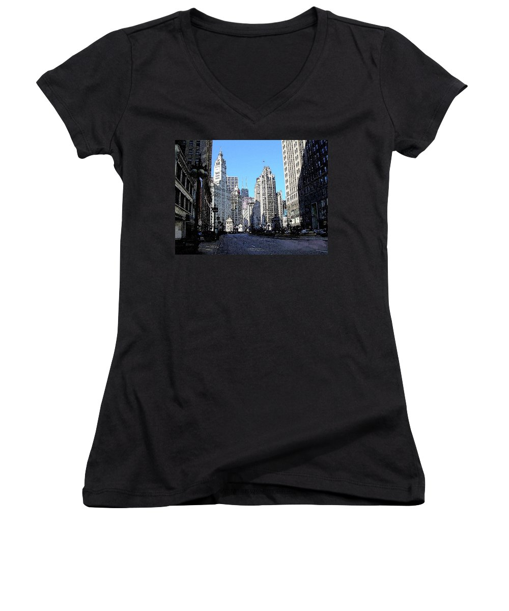 Chicago Women's V-Neck T-Shirt featuring the digital art Michigan Ave Wide by Anita Burgermeister