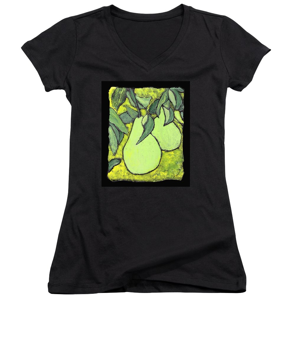 Pears Women's V-Neck T-Shirt featuring the painting Michigan Pears by Wayne Potrafka