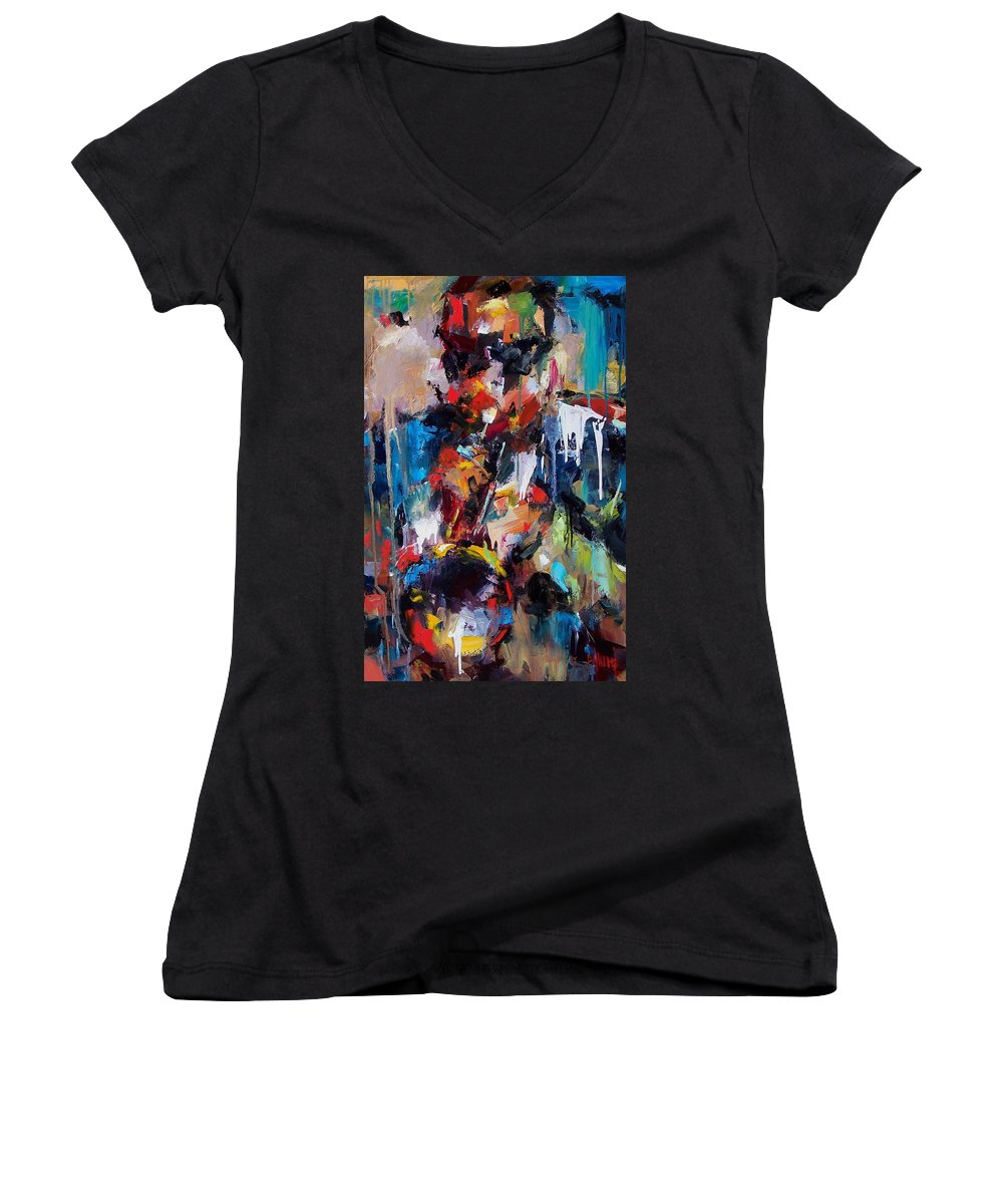 Jazz Art Women's V-Neck (Athletic Fit) featuring the painting Miles Davis 2 by Debra Hurd